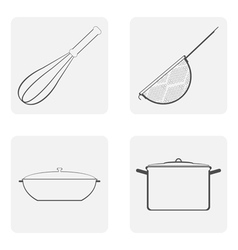 moochrome icon set with cookware vector image