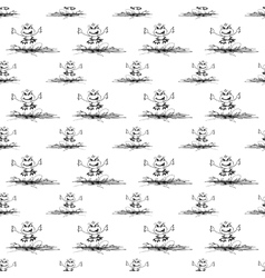 seamless pattern with frog and butterfly vector image vector image