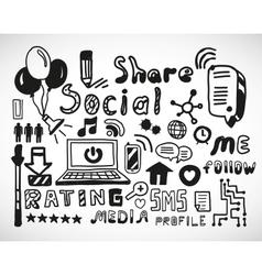 Set of hand drawn social doodles vector image vector image