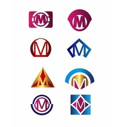 Set of letter M logo Branding Identity Corporate vector image vector image