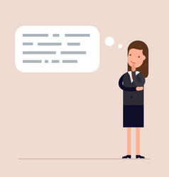 businesswoman or manager thinks abstract text in vector image