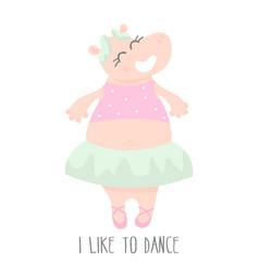Cute baby hippo ballerina dancing cartoon hand vector