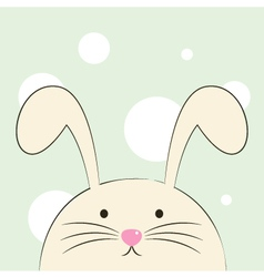 Cute beautiful easter bunny isolated on green back vector image