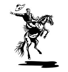 Rodeo cowboy riding bucking bronco horse vector