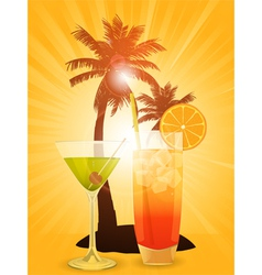 Tropical cocktails vector image vector image