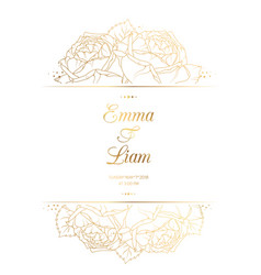 wedding invitation card template rose flowers gold vector image