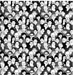 children crowd group monochrome seamless pattern vector image