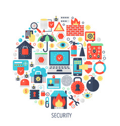 security flat infographics icons in circle - color vector image