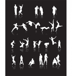 silhouettes of people vector image