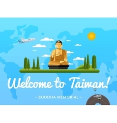 Welcome to Taiwan poster with famous attraction vector image vector image
