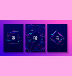 Abstract colorful neon posters creative cards set vector