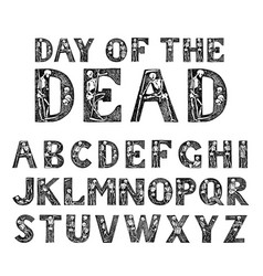 antique old font with skeletons for posters day of vector image