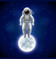 Astronaut and moon in space background vector image