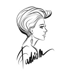 beautiful woman line art vector image