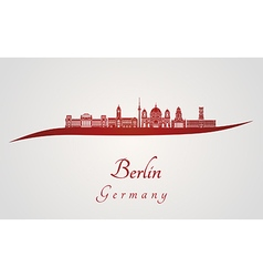 Berlin V2 skyline in red vector