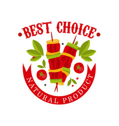 best choice natural product badge for butcher vector image