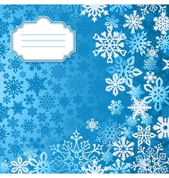 Blue Christmas snowflakes background greeting card vector image