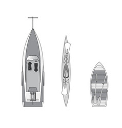 boat on a trailer canoe and rowing boat vector image