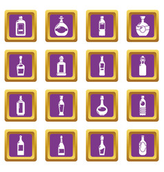 bottles icons set purple square vector image