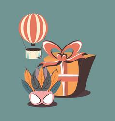 carnival hot air balloon mask gift box retro vector image