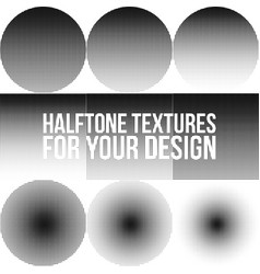 collection of gradient dotted halftone textures vector image
