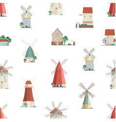 colorful seamless pattern with watermills and vector image