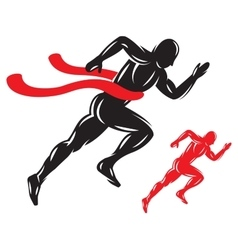 Concept running male athlete at finish vector