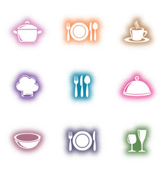creative eatery menu icons halftone design vector image