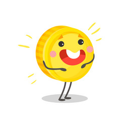 cute happy golden smiling coin humanized character vector image