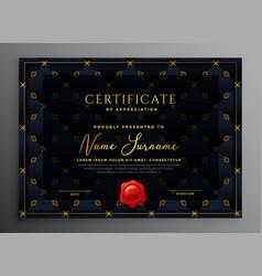 dark luxury certificate template design vector image