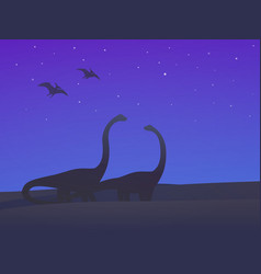 Dinosaurs sauropods and pterodactyls at night vector