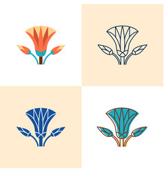 egyptian lotus icon set in flat and line style vector image