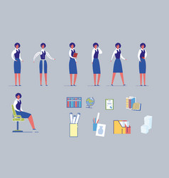 female teacher character with school supplies set vector image