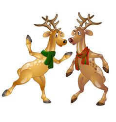Figures of dancing christmas deer in scarves vector