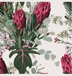 Floral seamless pattern protea sugarbushes flower vector