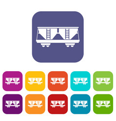 freight railroad car icons set vector image