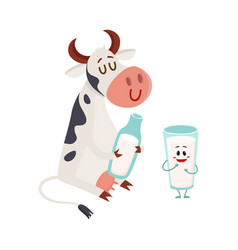 funny smiling farm cow sitting glass of milk vector image