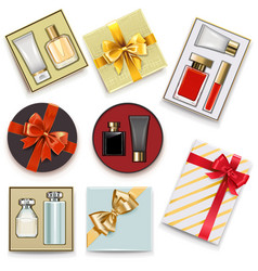 gift boxes with perfumery vector image