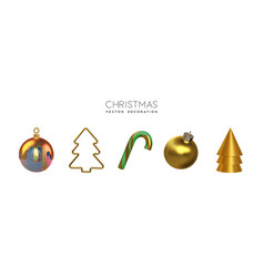 gold christmas isolated 3d ornament set vector image