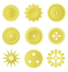Golden gear set vector
