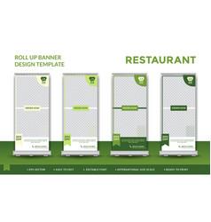 Green restaurant roll up design template vector