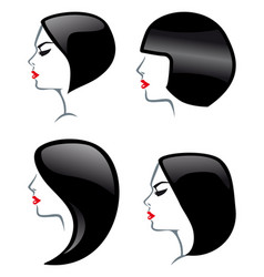 hair styles icons vector image
