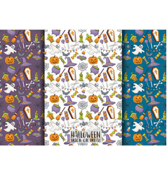 halloween seamless pattern design set for vector image