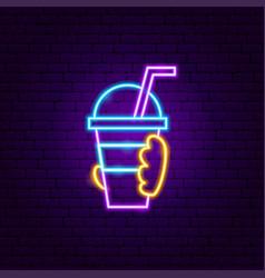 Hand drink neon sign vector