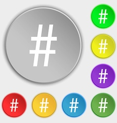 hash tag icon Symbols on eight flat buttons vector image
