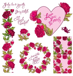Heart flower set 380 vector