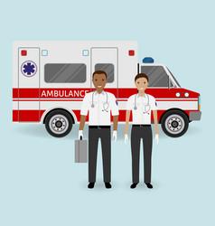 hospital staff concept paramedics ambulance team vector image