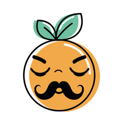 Kawaii nice sleeping orange fruit vector