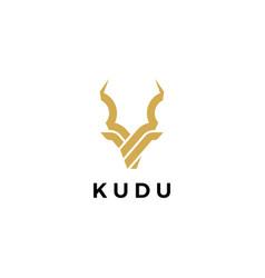 kudu head horn logo icon vector image