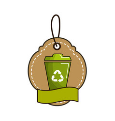 Label with can trash and ribbon inside vector
